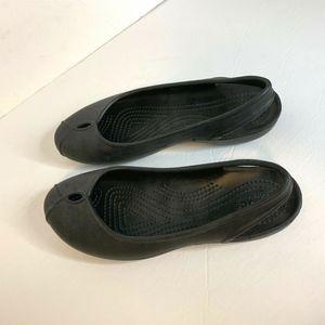 Crocs Black Womens Sz 7 Comfort Iconic Slip On Fla